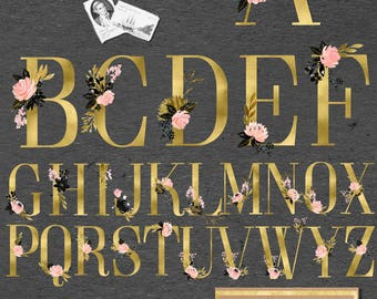 Blush pink, black and gold watercolours  Floral alphabets, uppercase designs + The Ampersand designs. Glam and chic colors.