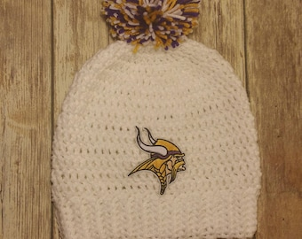 Minnesota Vikings  Crochet Hat **Ready to Ship** . Adult Size. White Hat with Purple, Gold, and White Pom. Hat features Vikings Patch