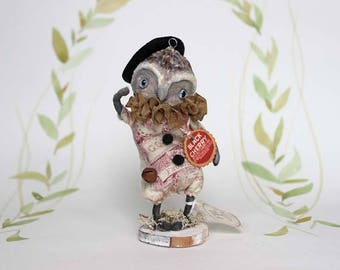 Owl ooak art doll figurine spun cotton Primitive Folk Art holiday decoration