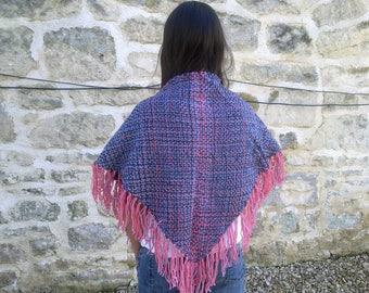 Merino triangle shawl with fringe