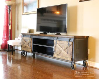 Modern Industrial Media Console Vintage Living Room