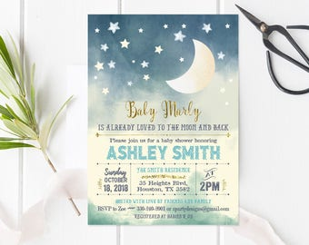 Moon And Stars Baby Shower Invitation, Loved To The Moon Shower Invitation,  Stars Baby