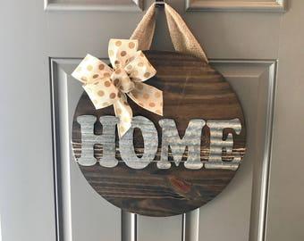 Home Door Hanger, Wood Door Sign, Front Door Sign, Housewarming Gift, New Home Sign, Door Wreath, Front Door Decor, Corrugated Metal
