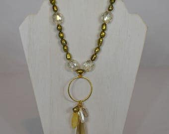 Golden Crystal Pendant Necklace