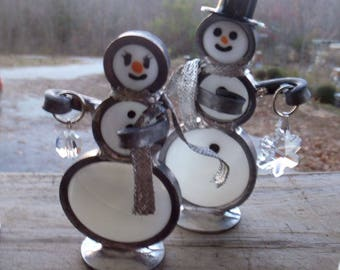 Snow Man COUPLE, SNOW PEOPLE, Snowman, Snow Lady, Swarvoski Snow Flake and Snow Ball, Stained Glass Snowman from In His Garden Creations*
