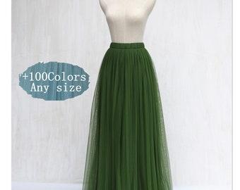 Moss green tulle skirt, women wedding bridesmaid tulle skirt,floor length full length tutu