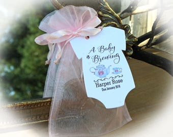 Tea Party Baby Shower Favor | A baby is Brewing Baby Shower Favor | Baby Shower Favor | Tags ONLY or Tags/Bags (Tea not included)oftTEA1