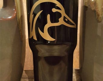 Personalized Powder Coated Tumbler (Mug). Wood Duck Decal. Choose decal color, tumbler color & size. Perfect for gift giving.