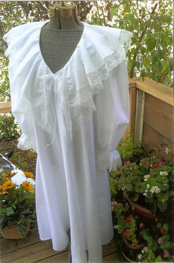 Vintage Inspired Nightgowns, Robes, Pajamas, Baby Dolls Custom Made Victorian Lace white flannel nightgownCustom Made Victorian Lace white flannel nightgown $79.00 AT vintagedancer.com