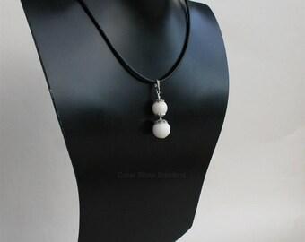 White Coral Pendant, Double Ball Pendant, Unique White Coral Necklace, Sterling Silver Chain Necklace, White Stone Pendant, Filigree Pendant