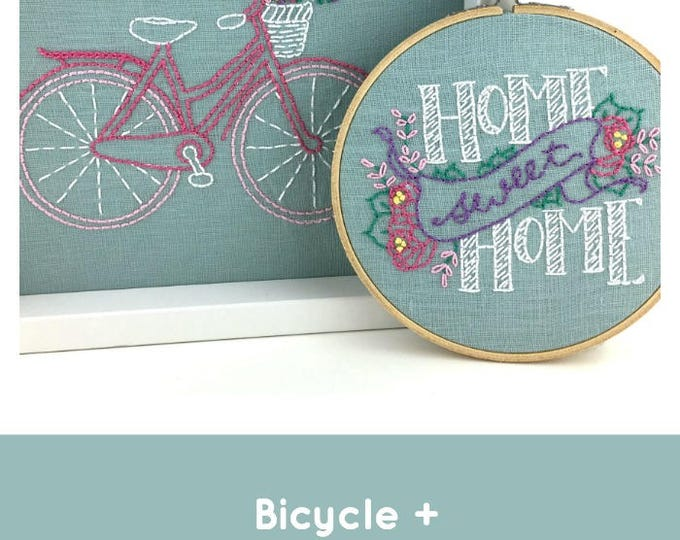 Embroidery Kit, Modern Embroidery Kit, Beginner Embroidery Kit, DIY Embroidery Kit, Hand Embroidery Kit, Bicycle Embroidery Pattern, Bicycle