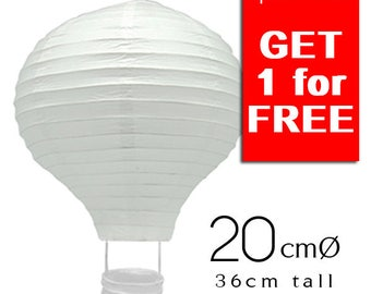 Special Offer - 6+1 White Hot Air Balloon Paper Lanterns (20cm)- Wedding, Party, Baby Shower, Nursery, Home Decor
