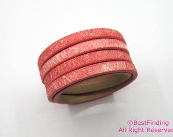 1meter 5x2mm Solid vein melon red glitter leather cord 5mm leather cord