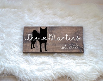 Last Name Wood Sign with Shiba Inu Silhouette, Wedding Signs, Last Name, Wedding Gift, Dog Wedding Gift, Anniversary Gift, Entryway