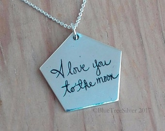 Handwriting Pentagon Necklace. Signature Necklace. Handwritten Necklace. Memorial Jewelry. Sterling Silver