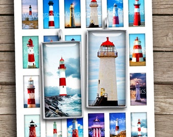 Lighthouses 1x2 inch Domino printable images for Pendants Beacon Digital Collage Sheet - Instant Download
