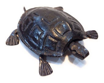 Vintage Cast Iron Turtle Figurine Paperweight