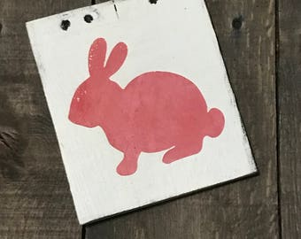 Pink Bunny, Easter decor, Easter sign, spring decor, Bunny on reclaimed wood,