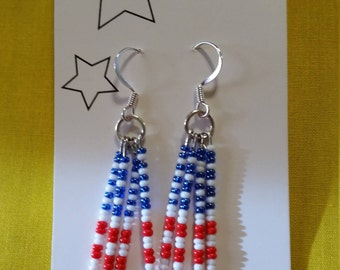 "FLAG DANGLE EARRINGS - Red, White and Blue Glass Beads on Sterling Silver Clad Fish Hook Wire - 1.5"" Long"