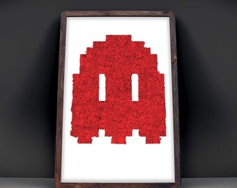 "NEXT LEVEL - Pacman Ghost Shaped Video Game Poster - Silkscreen, 18x24"", Art Print, Signed - 100's of characters"