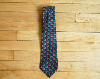 Vintage 1980s Claiborne Silk Tie / Red Yellow Teal Blue Pine Cone Print
