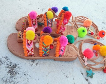 Kids sandals, Chili Mango Mini, Handmade Sandals for Kids, Girls Pompom Sandals