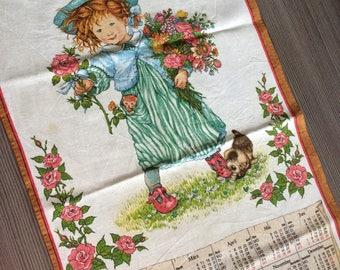 Vintage Tea Towel Country Kitchen Linen Calender 1991 Baby Girl Flowers