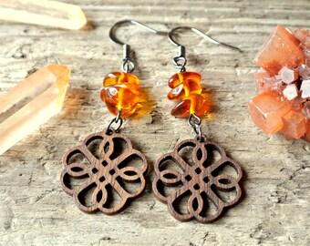 Baltic Amber Wood Cut Earrings * Gemstone Jewelry * Healing Stones * Earthy * Bohemian
