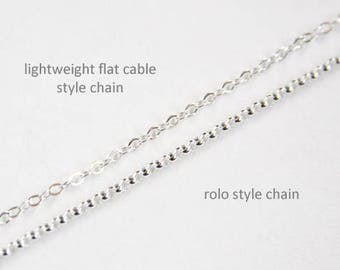 Custom Size Chain Necklace Small Ring To Add Charm or Pendant Sterling Silver Chain Argentium Chain Lobster Clasp Rolo Lightweight Cable