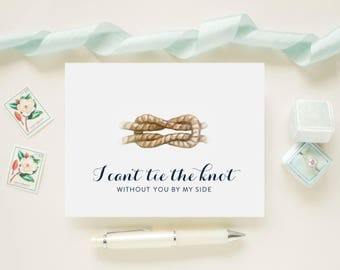 Custom Color Nautical Rope Will You Be My Bridesmaid Cards, Maid of Honor, Matron of Honor, Flower Girl Ask Bridal Party Card Gift