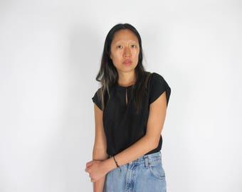 Black silk keyhole top / S - M / simple vintage short sleeve t-shirt blouse basic classic boxy loose fit minimal minimalist