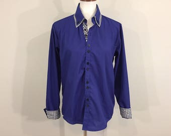 Womens Western Shirt Cowgirl Rodeo Rockabilly Shirt Country Western Clothing Checkered Royal Blue Gingham Size Large Womens Clothing