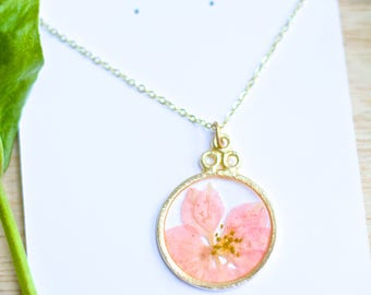 Pink Larkspur Necklace Pressed Flower Jewelry