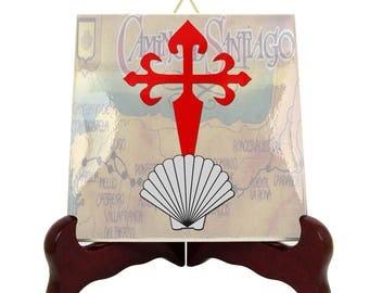 Camino de Santiago symbols seashell and St James Cross ceramic tile collectible memorabilia catholic gift religious Way of St. James