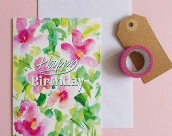 Happy Birthday Card, Floral Card, Birthday card for her, Pretty card, Blank inside card, Birthday celebrations, Pink birthday card