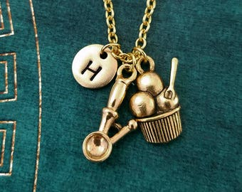 Ice Cream Necklace SMALL Ice Cream Charm Necklace Ice Cream Scoop Pendant Necklace Ice Cream Parlor Personalized Jewelry Initial Necklace