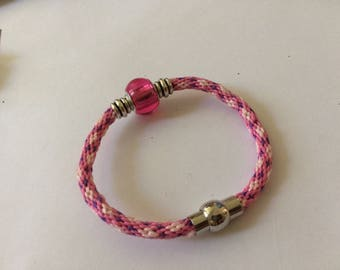kumihimo pink, purple and white, hot pink charm bracelet