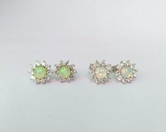 6 mm. Round Fire Opal Solid 925 Sterling Silver Stud Earrings, October Birthstone Earrings
