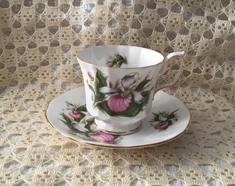 Elizabethan Lady's Slipper Cup and Saucer, Canadian Provencial Flowers, Fine Bone China, Made in England, Lady Slipper Cup and Saucer