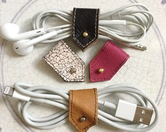 Leather Cord Holder, Cable Organizer, Cord Organizer, Earbud Organizer, Cable Tidy, Cord Keeper, Mix set No.3, Sets of Two or Four
