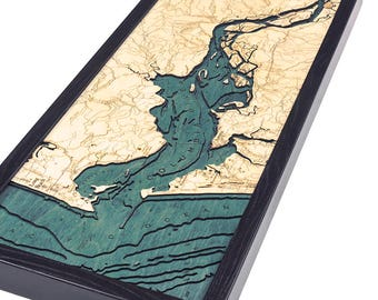 Columbia River Mouth, OR Wood Carved Topographic Depth Map
