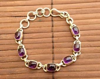 Purple Amethyst Bracelet Silver Sterling 925 Silver Amethyst Jewelry Gemstone Bracelets Natural Amethyst Bracelet Link February Birthstone