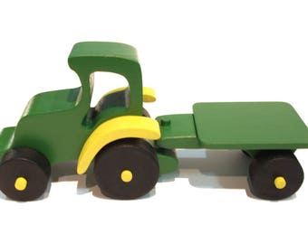 Wooden tractor, tractor and trailer, wooden cars, handmade wooden tractor trailer, Vintage model cars, wooden cars, wooden toys