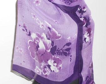 Vintage scarf, Shawl of silk chiffon in purple