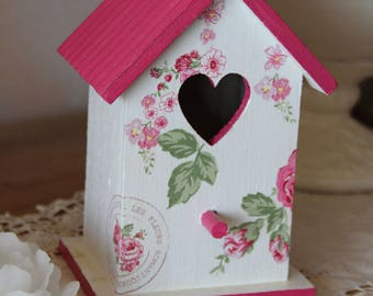 Decorative, spring birdhouse - Shabby chic style-open heart