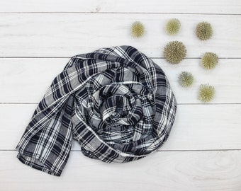 Long washed linen checked scarf oversized linen scarf for men for women dark blue