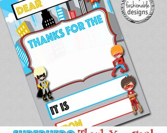 "Superhero Thank You Card, Kids Card, Instant Download, 4x6"" JPG & PDF"