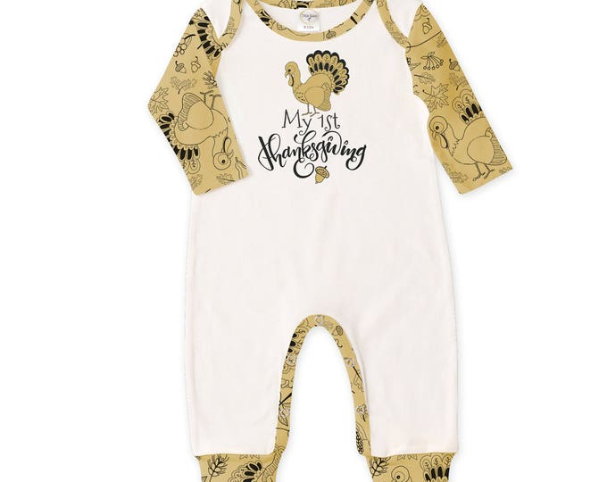 CLEARANCE! Newborn Thanksgiving Romper Black and Yellow, Baby Boy and Girl Holiday Bodysuit, Turkey, Yellow Stripes, Tesababe