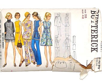 Vintage 1969 Butterick Women's Wrap-Around Dress, Tunic, Pants or Shorts Sewing Patting #5729 - Size 38 (Bust 42)