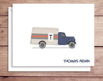 Truck Note Cards - Folded Truck Note Cards - Personalized Children's Stationery - Truck Thank You Notes - Illustrated Note Cards